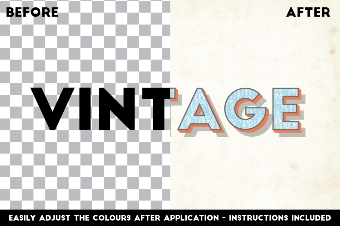 Vintage Illustrator Text Effects FREE 5